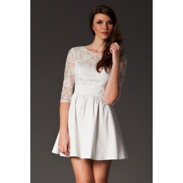 Dámske šaty s čipkou Figl 144 slonovina