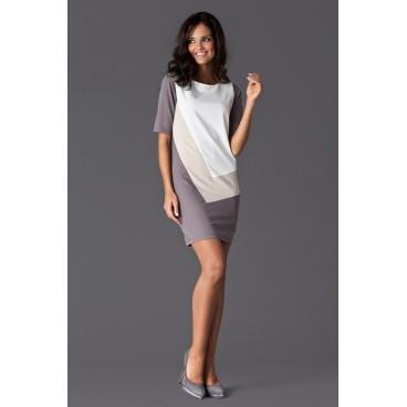 Dámske šaty Figl F118 béžovo sivé - výprodej