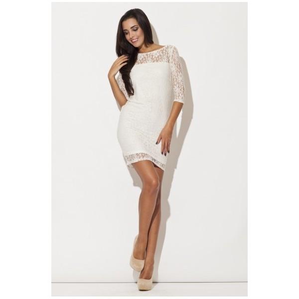 2a9e799a6fbb Dámske šaty Katrus K109 - biele